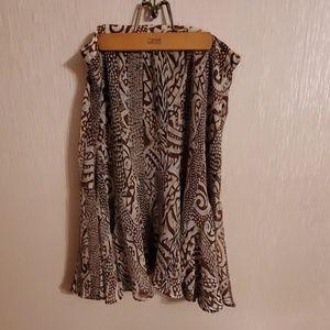 Tribal print skirt, ruffled bottom